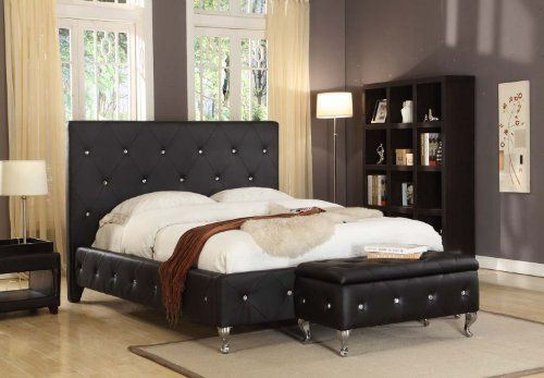 Black Tufted Design Leather Look Queen Size Upholstered Platform Bed - Bobs Furniture Bedroom Sets