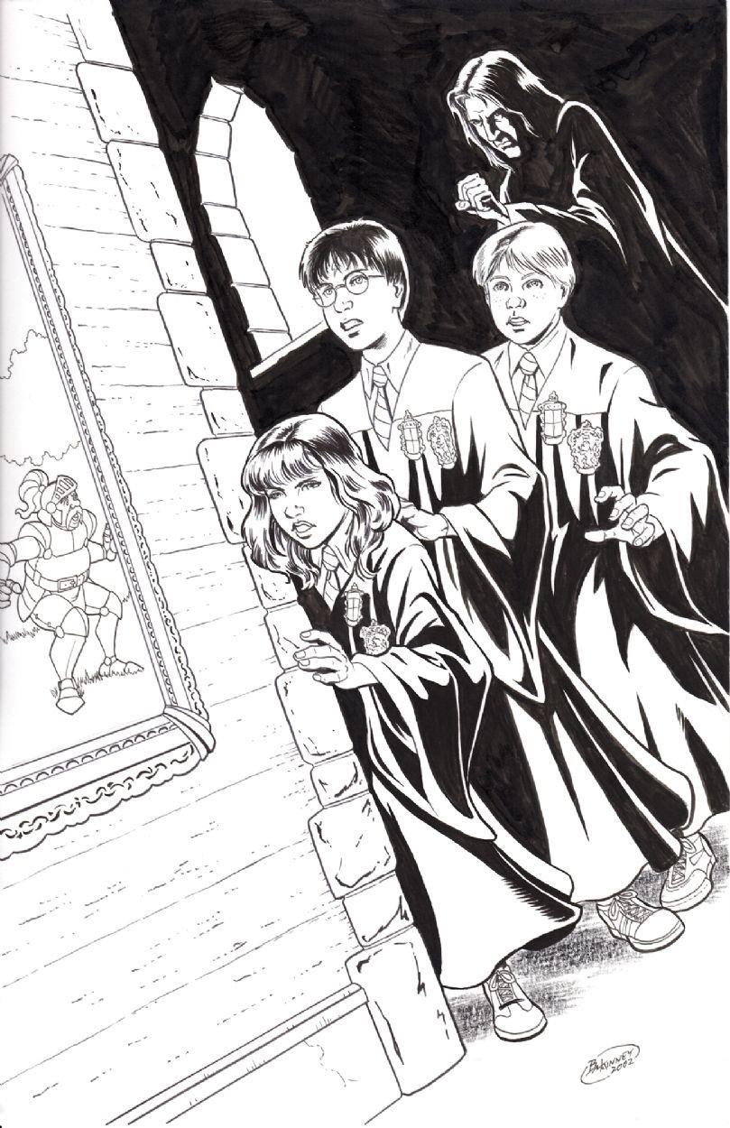 Harry Potter Ron Weasley Hermione Granger Severus Snape Sir Cadogan Harry Potter 1 Of 3 Comic Harry Potter Art Drawings Harry Potter Harry Potter Art