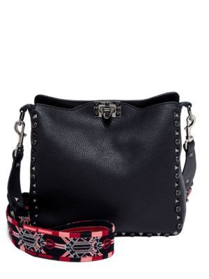 VALENTINO Small Rockstud Love Blade Guitar-Strap Leather Hobo Bag. #valentino #bags #shoulder bags #leather #hobo #cotton #