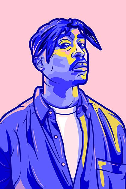 2Pac poster / Rap poster, Rapper portrait, Rap wall art