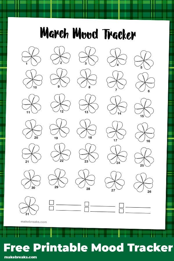 Free printable March mood tracker. This mood tracker features a trefoil design - perfect for the month which includes Saint Patrick's Day :)