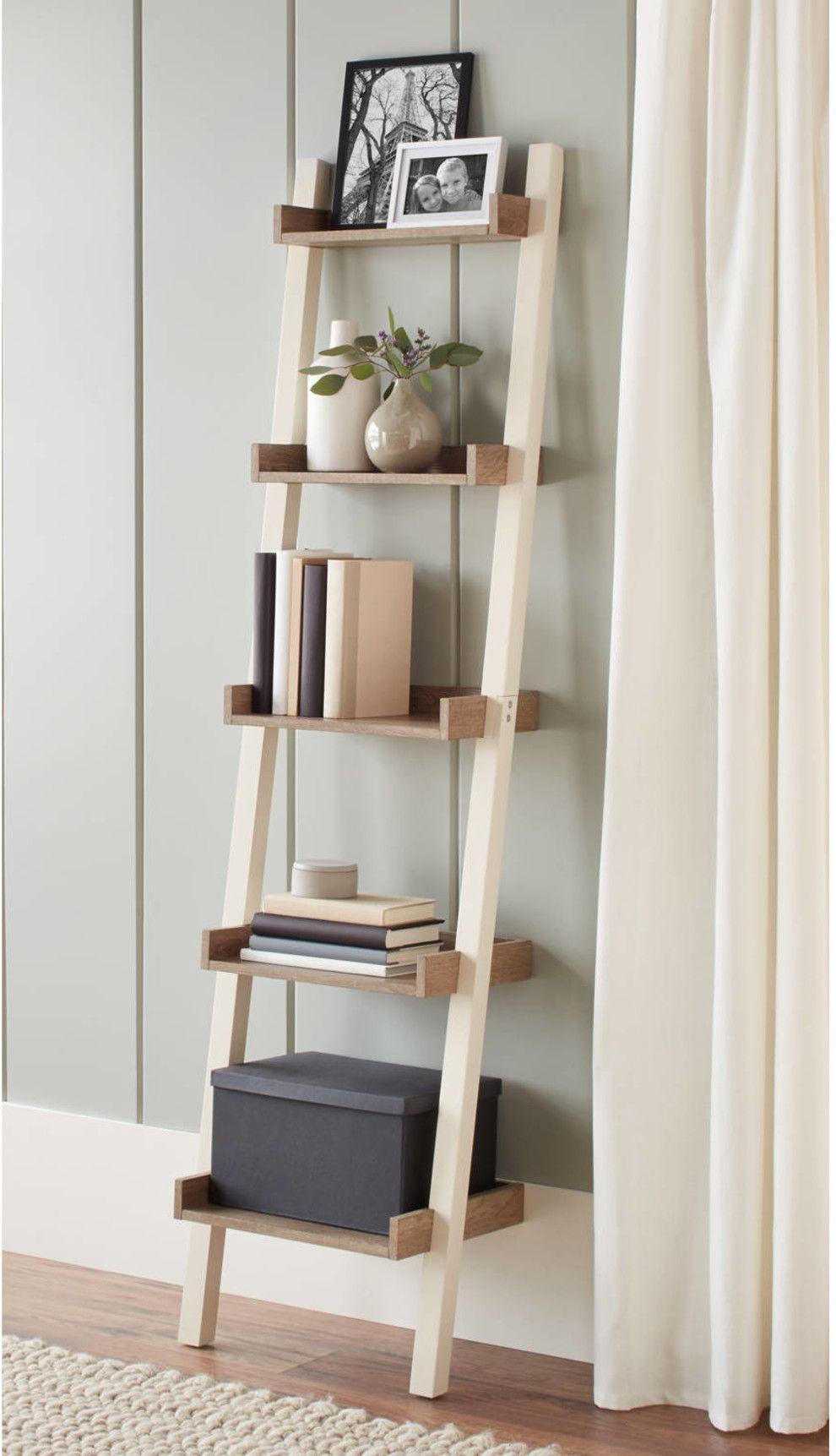 28 Surprisingly Attractive Pieces Of Decor You Can Get At Walmart Ladder Shelf Decor Narrow Ladder Shelf Diy Home Decor On A Budget