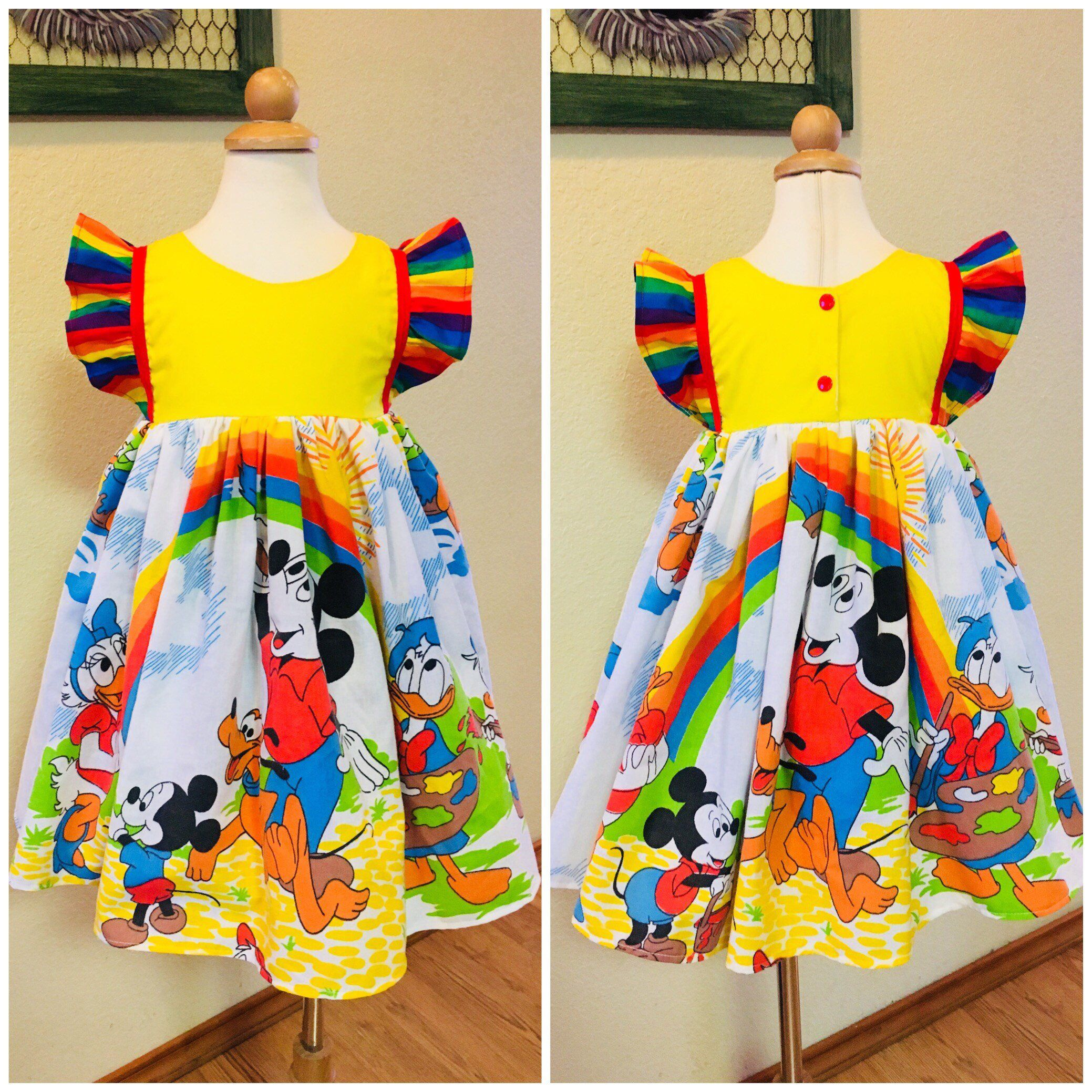 1841fedd25b6 Excited to share this item from my  etsy shop  Disney Rainbow Dress Vintahe  Mickey Mouse Daisy Donald duck Flutter Sleeves Girls Baby Toddler Custom ...