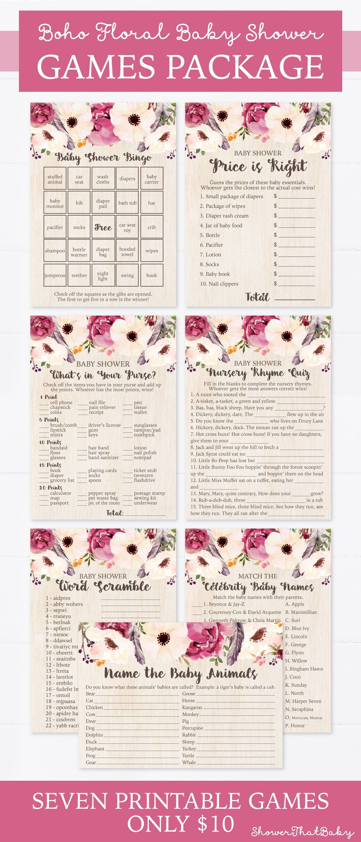 Boho Baby Shower Games Package  Seven Printable Games Bingo Price is Right Purse Game Nursery Rhyme  Bohemian Feathers Flowers 0043