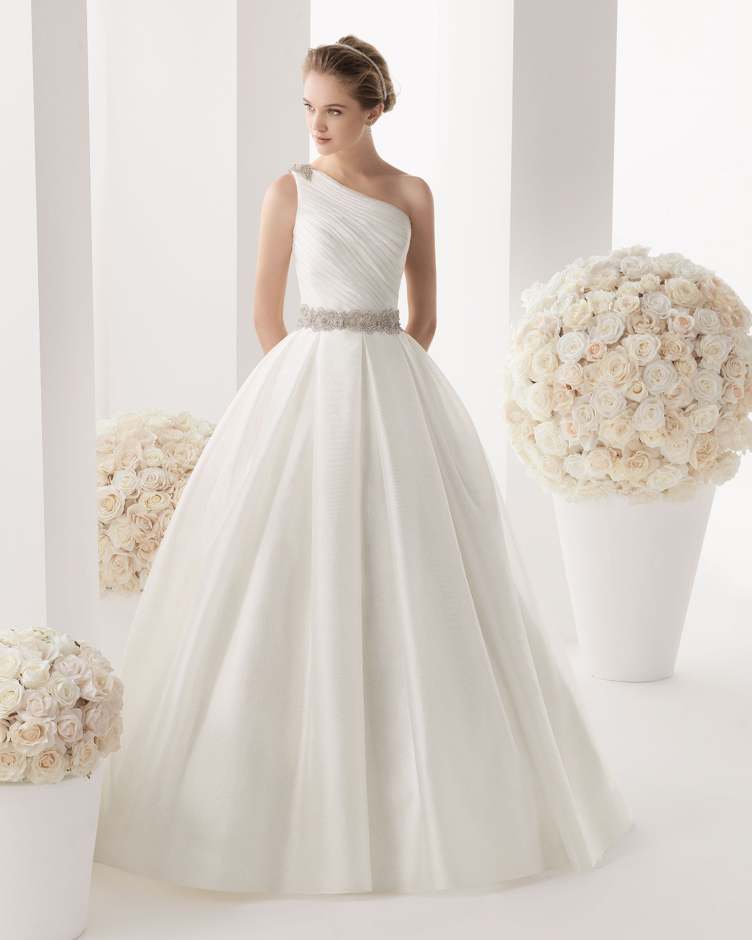White off the shoulder wedding dress  MELIA  Gazar dress and train and beaded brooch in a natural colour