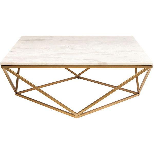 Marble And Steel Coffee Table: Rosalie Hollywood Regency Gold Steel White Marble Coffee