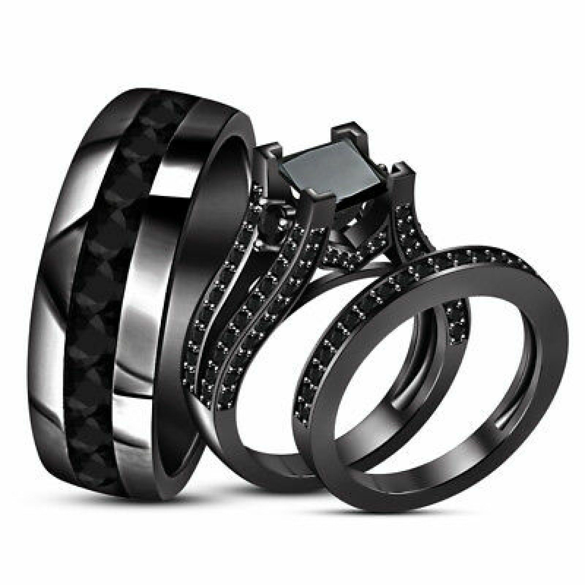 Black Gold Over Princess Diamond Wedding Bridal Trio Ring Set Etsy In 2020 Black Gold Ring Black Gold Jewelry Black Wedding Rings