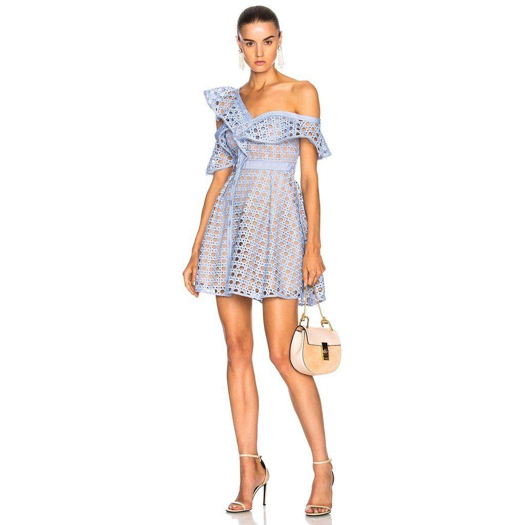 6c55aaae84c Blue Zari Lace Ruffled One Shoulder Mini Dress