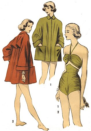 Vintage 1940s SEXY Halter Swimsuit Beach Coat REPRO Sewing Pattern 109