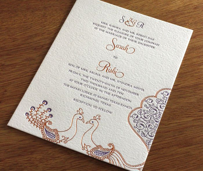 peacock letterpress wedding invitation by invitations by