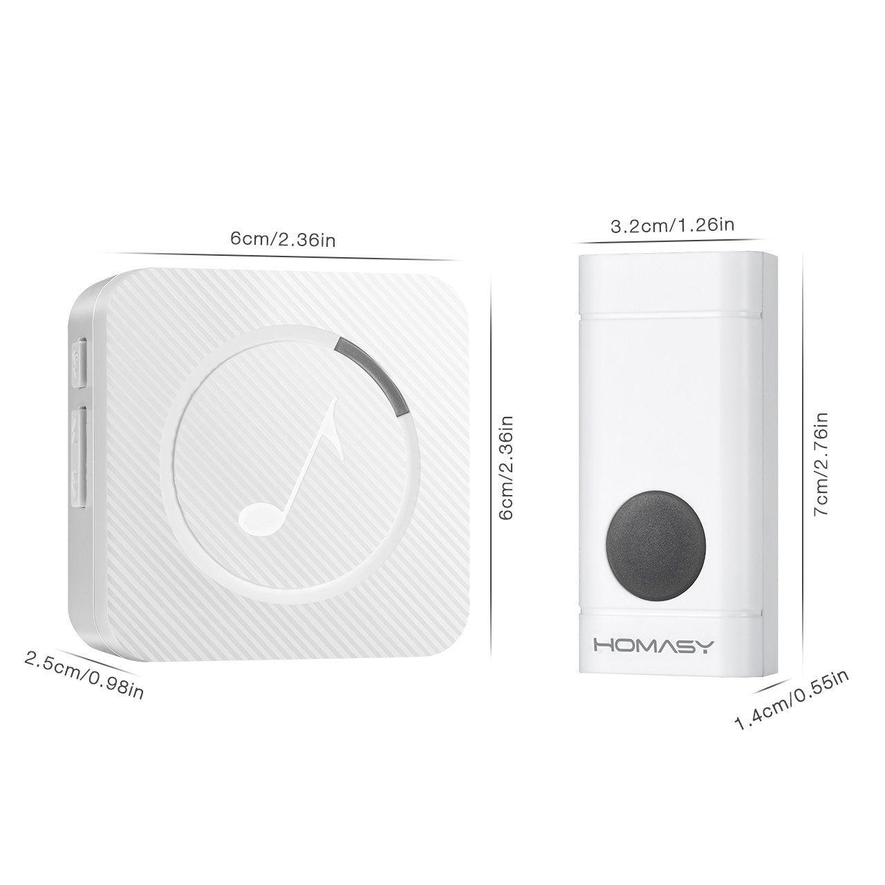 Homasy wireless doorbell waterproof door bell kit 52