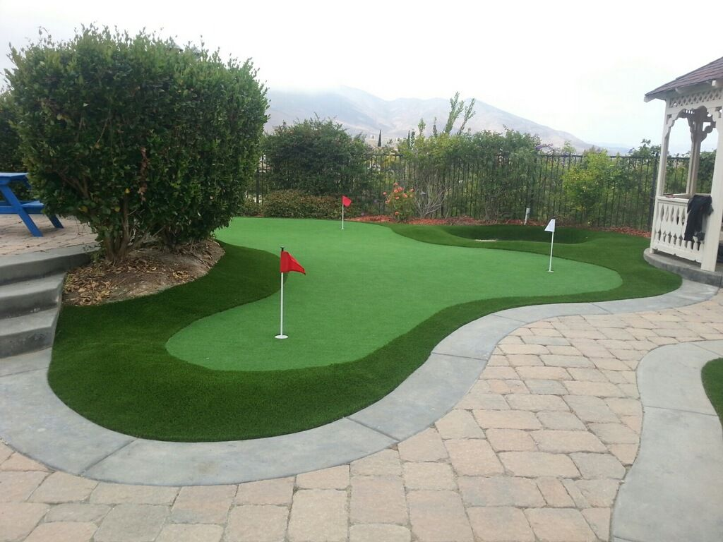 Putting green, pavers, sand trap combination. | Green ... on Putting Green Ideas For Backyard id=38046