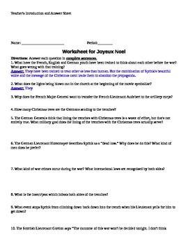 Joyeux Noel (movie) Worksheet -- with answer sheet | French