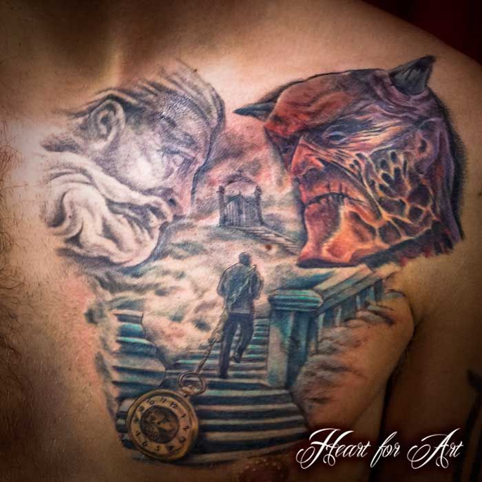 Stair way to heaven or hell religious chest tattoo choose for Arm mural tattoos