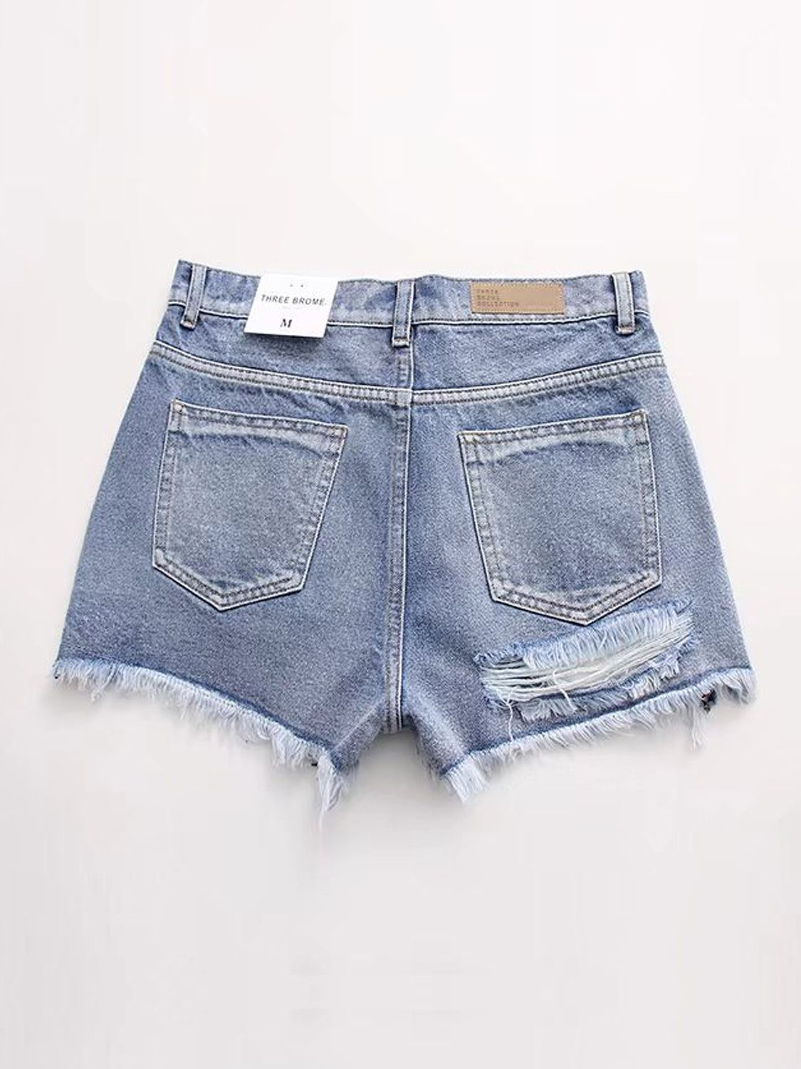 70308760106409 Blue High Waist Ripped Raw Hem Denim Shorts Blue, Sexy, Latest Fashion For  Women