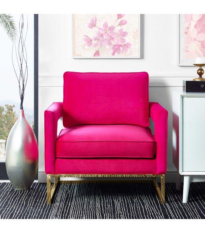 Hot Pink Fuschia Velvet Gold Legs Lounge Chair