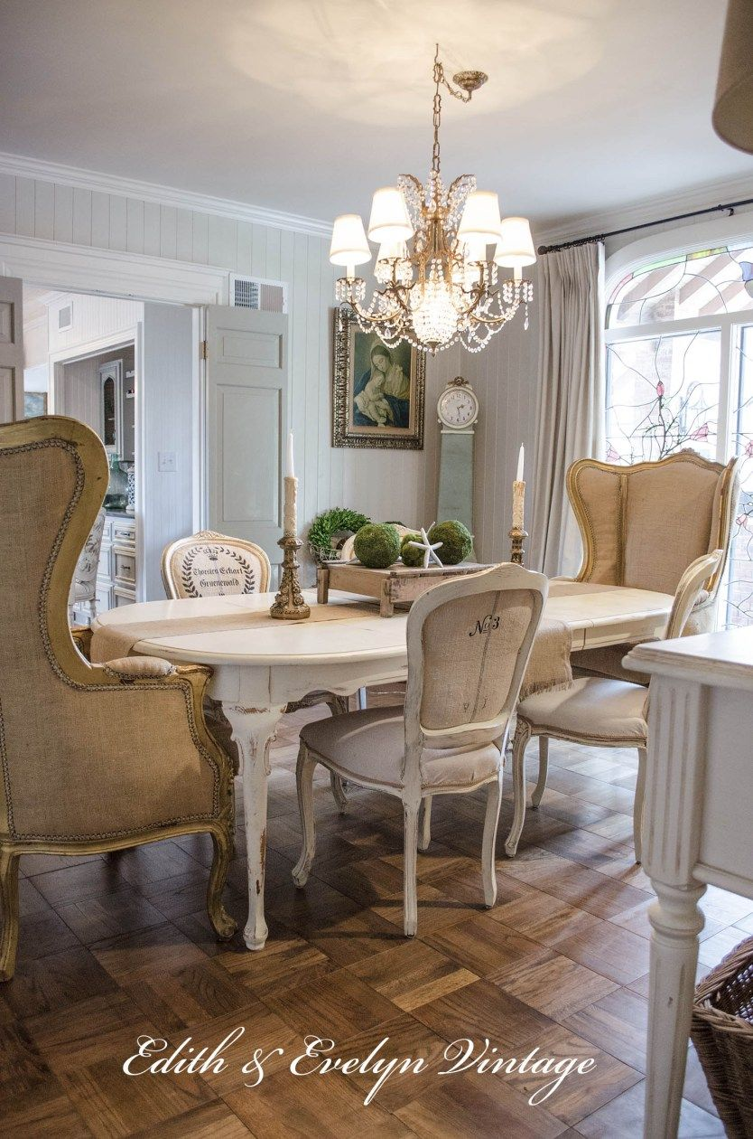 Transformation  Dining Room Edith & Evelyn Vintage  Drapes Amazing French Country Dining Room Chairs Inspiration Design