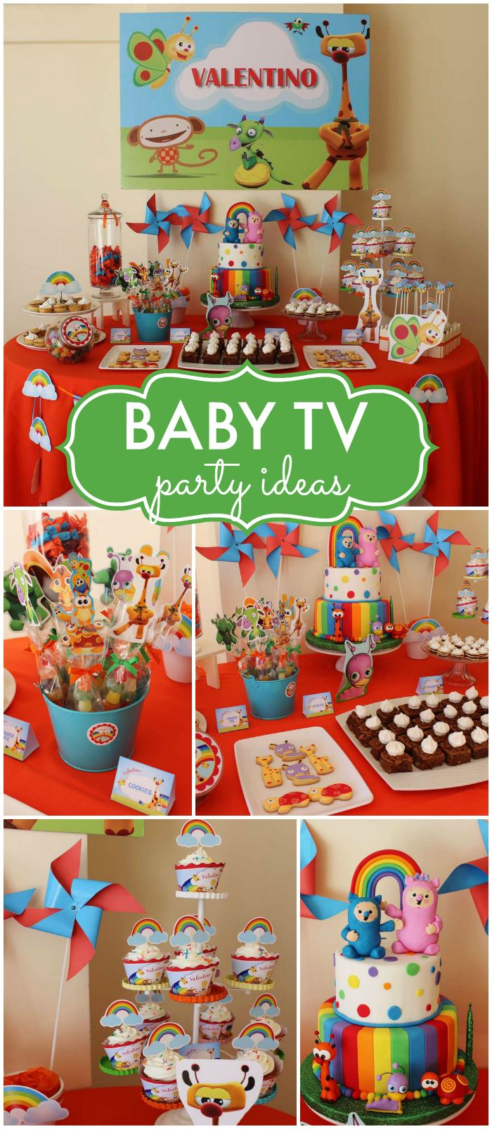 How fun is this Baby TV party!? So colorful! See more party ideas at CatchMyParty.com!