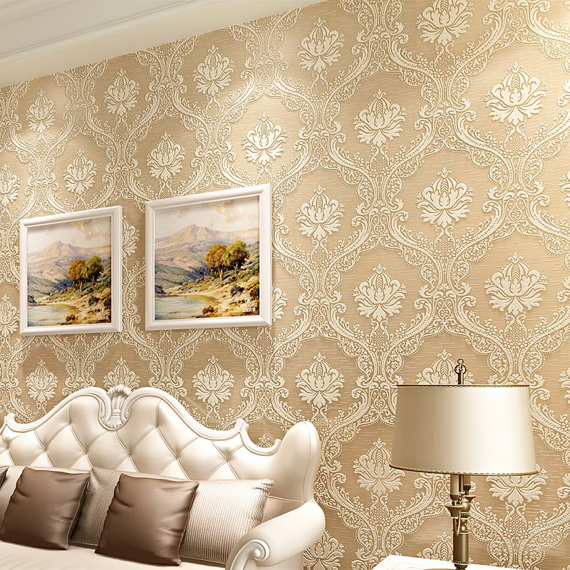 Europe Embossed Wallpaper Papel De Parede Golden Murals Vintage Luxury For Living Room Wall Covering