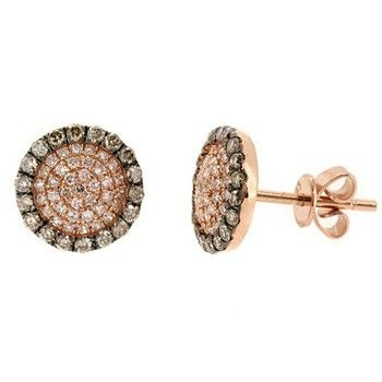 0 49ct Fancy Brown Diamond Stud Earrings 14k Pink Rose Gold Stud Earrings White Diamond Stud Earrings Fancy Brown Diamond