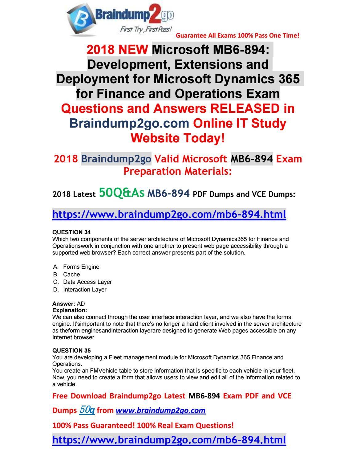 2018 New Microsoft Exam Mb6 894 Pdf Dumps 50qas Free Share 34 42