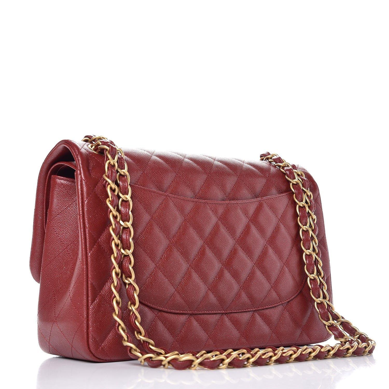 Satchel Bag · CHANEL Iridescent Caviar Quilted Jumbo Double Flap Burgundy  Diamond Quilt 03925e576d71b
