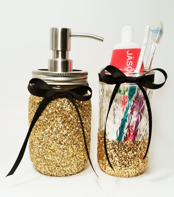 Mason Jar Kitchen Decor Set: Mason Jar Soap Dispenser, Bathroom Decor, Mason Jar