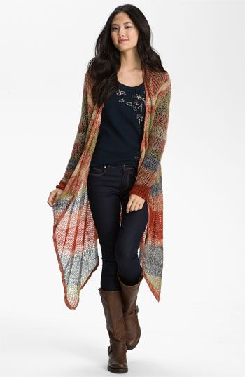 Lucky Brand 'Chevron Stripe' Long Wrap Cardigan | Nordstrom