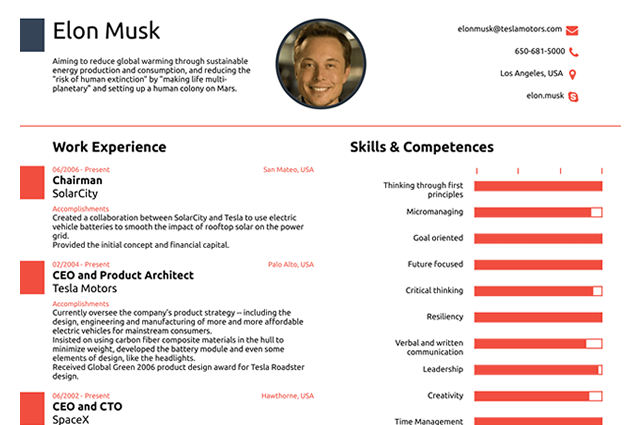 This Resume For Elon Musk Shows Why You Need Only One Page Resume Online Resume Elon Musk