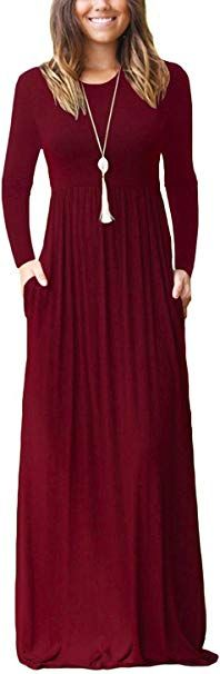 1699  2399 GRECERELLE Womens Long Sleeve Loose Plain Maxi Dresses Casual Long Dresses Wite Pockets 95 rayon  5 spandex Material 95 Rayon  5 SpandexStretchysoft and comfy...