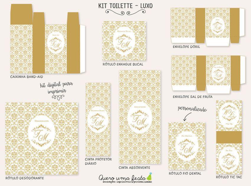 Kit Toilette Luxo Personalizado Para Imprimir Preparacao Do