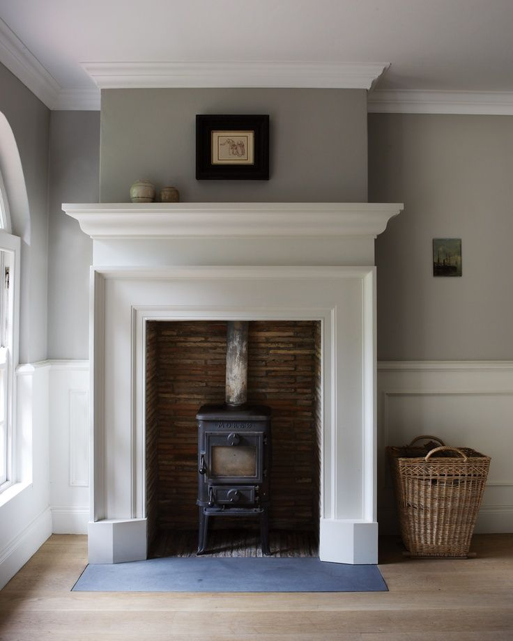 Small Fireplace Mantel Surrounds: White Wooden Fireplace And Small Wood Burning Stove.