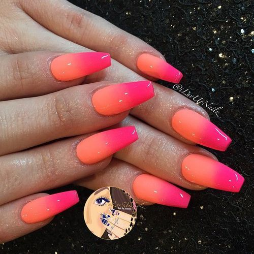 orange and pink ombre nails hard