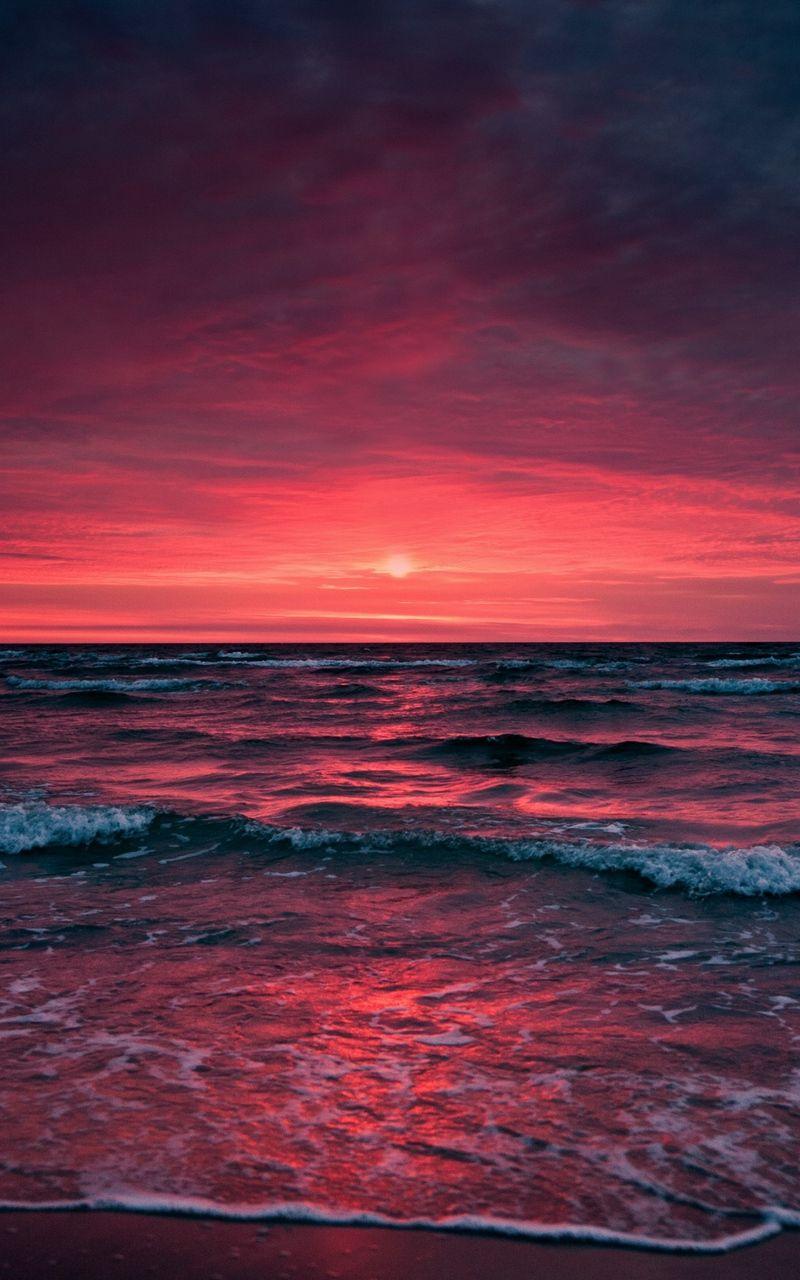 Wallpaper sky sea surf sunset ocean horizon foam