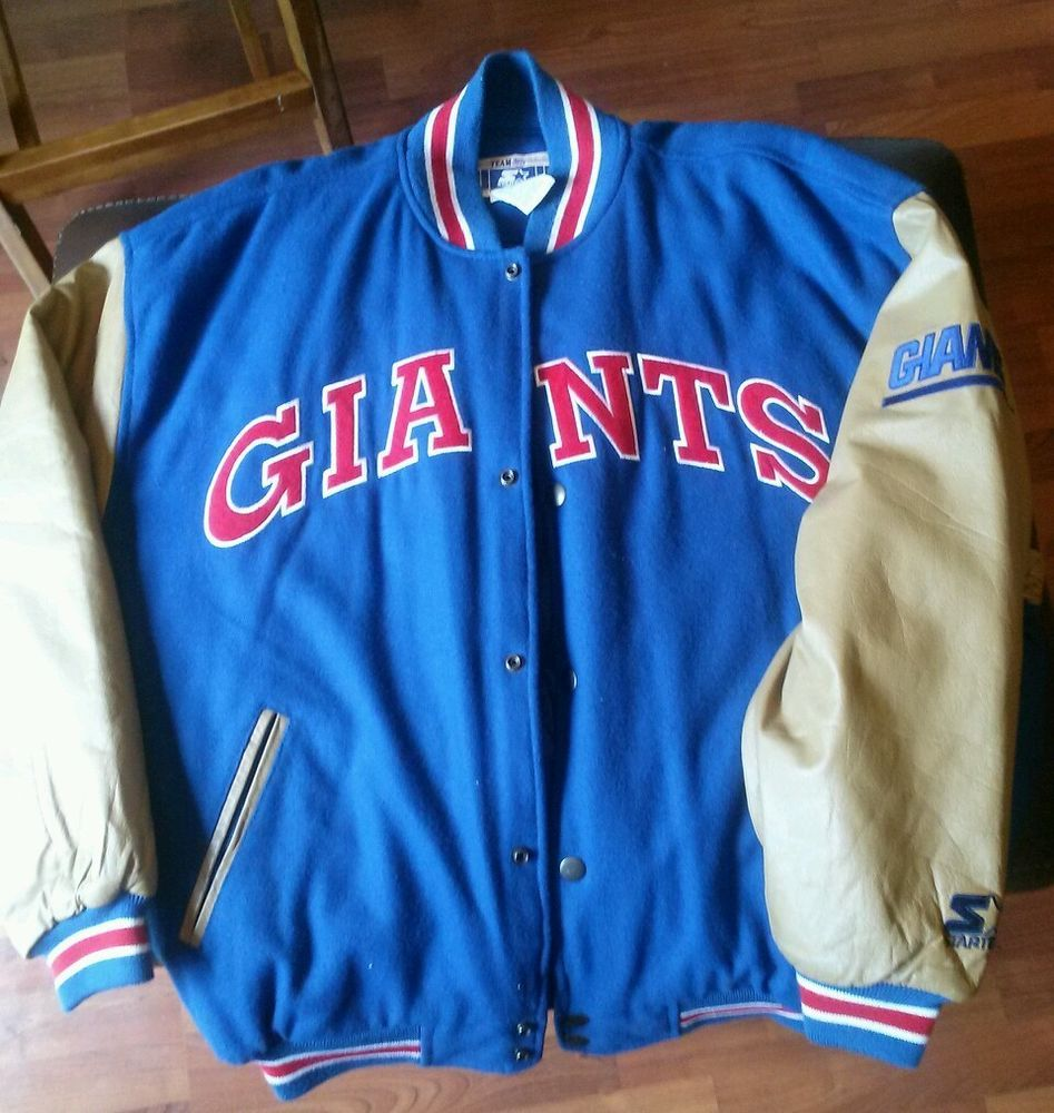 new arrival 661d1 39d29 Classic team nfl leather and wool new york giants starter ...