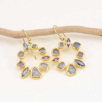 """Petra Class at Patina Gallery. Earrings, 22k, 18k, Rough and Facetted Montana Blue Sapphires, On Wire, 1.25""""x.9"""", $3890"""