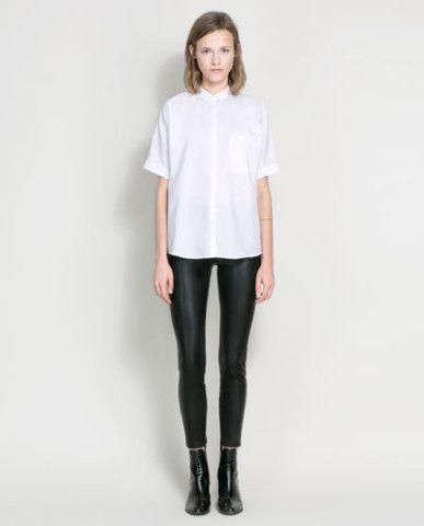 leather effect leggings - ZARA United States