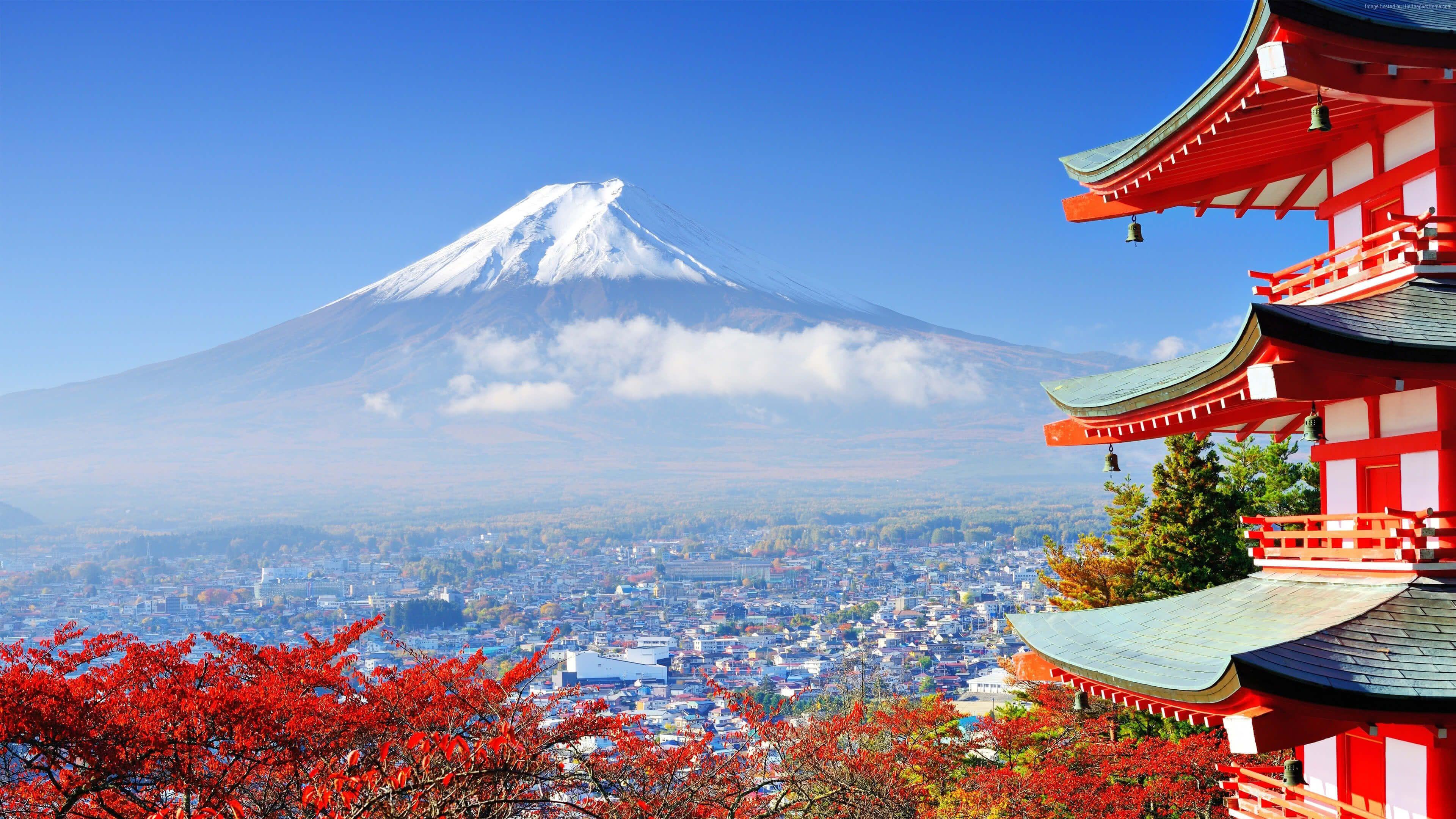 3840x2160 View Of Mount Fuji From A Red Pagoda Tokyo Uhd 4k Wallpaper Pixelz Japan Tourist Mount Fuji Japan Japan Travel