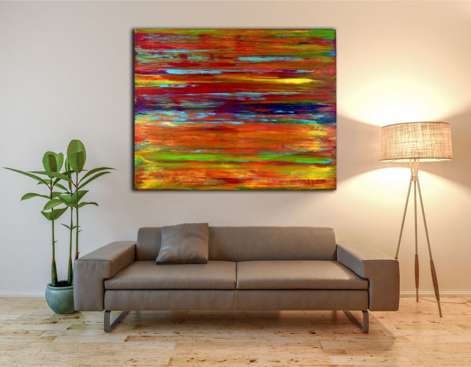 Very vibrant almost electric colorfield painting with great light and fine details. Textured with many layers of plaster to prime the canvas then applied acrylic paint with spatulas and palate knif...