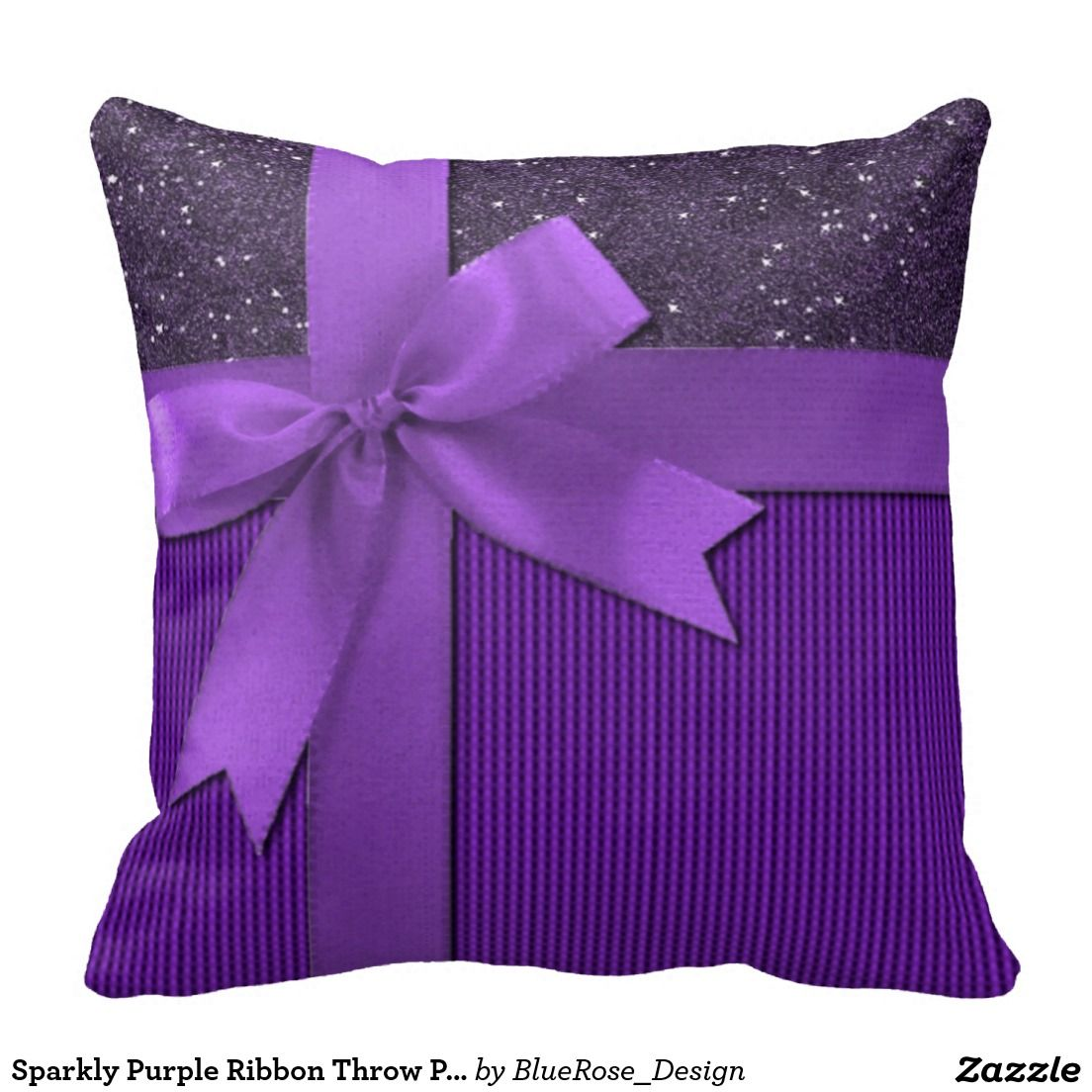 Sparkly purple ribbon throw pillow cushions pinterest throw