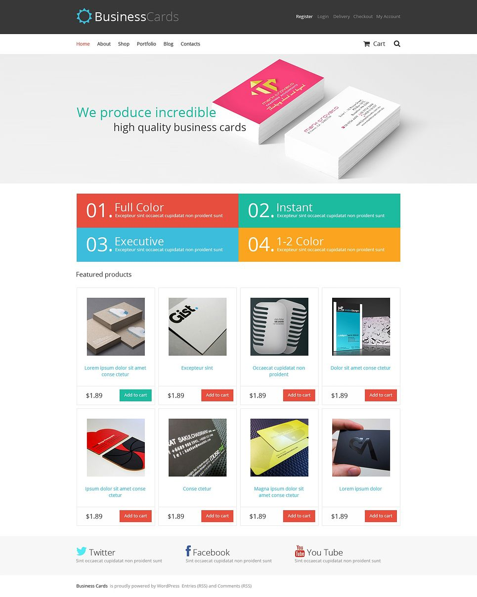 Business Cards Store Theme 46435