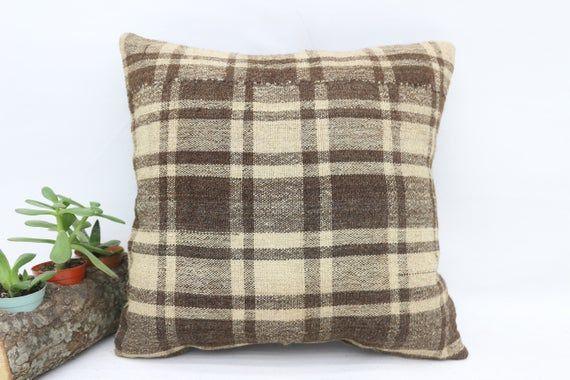 Turkish Kilim Pillow, 14x14 Organic Pillow, Striped Pillow,Small Throw Pillows, Cushion Cover,Brown