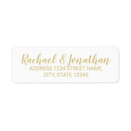 Elegant White and Gold Wedding Label - script gifts template