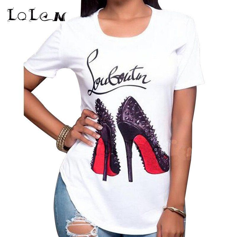 38a1e1101 LOLEN Fashion Slim Tops Printed Short-sleeved T-shirt for Women ...