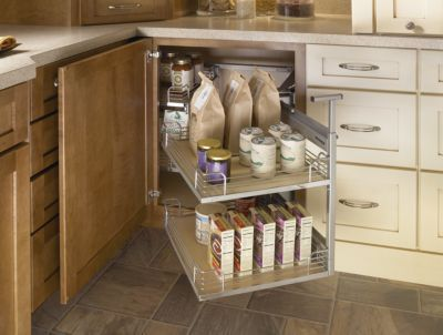 Blind Corner Cabinet With Full Access Trays Yorktowne Cabinetry Corner Kitchen Cabinet Corner Cabinet Solutions Corner Storage Cabinet
