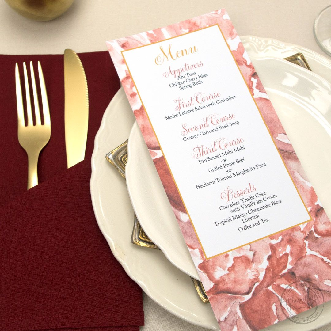 Menus, place cards, and table numbers with gorgeous floral ...