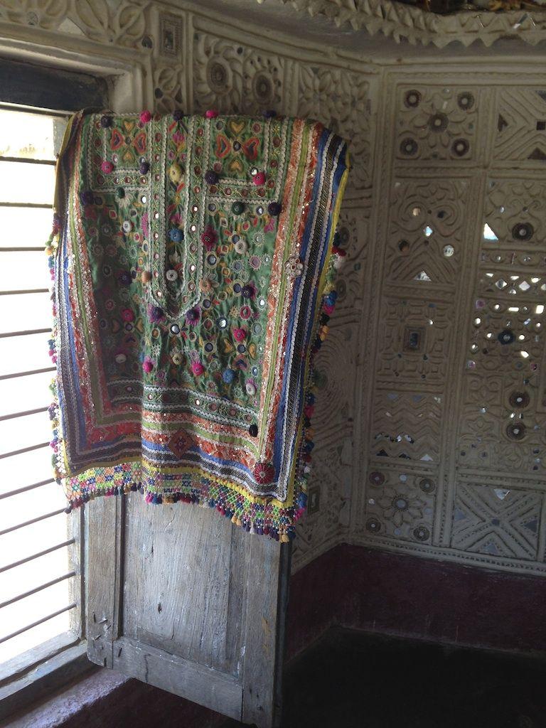 Broken Mirror Wall Art Intricate Handmade Banjara Embroidery On Display In A Banni Hut