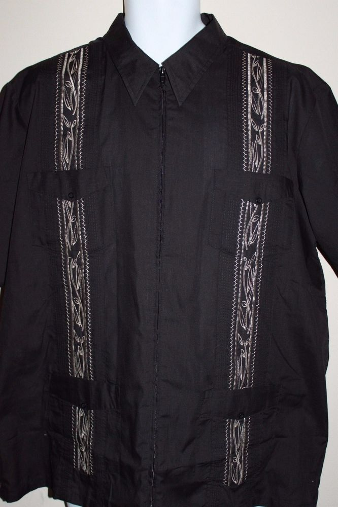 b7a2c0f3 Vintage The Genuine Haband Guayabera Embroidered Zip Front Lounge Shirt L  Cigar #Haband #ZipFront