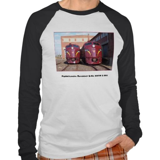 Pennsylvania Railroad E-8a,s (JTFS) 5809 and 5811 T Shirts - $30.95 - We've given the classic baseball jersey a modern and sophisticated take. It now has long sleeves! Made from pre-shrunk 5.0 oz, 100% combed ring-spun cotton, super-soft baby jersey knit. The shirt has a loose fit and features contrasting colored ribbed cuffs, sleeves and neck trim. Imported.