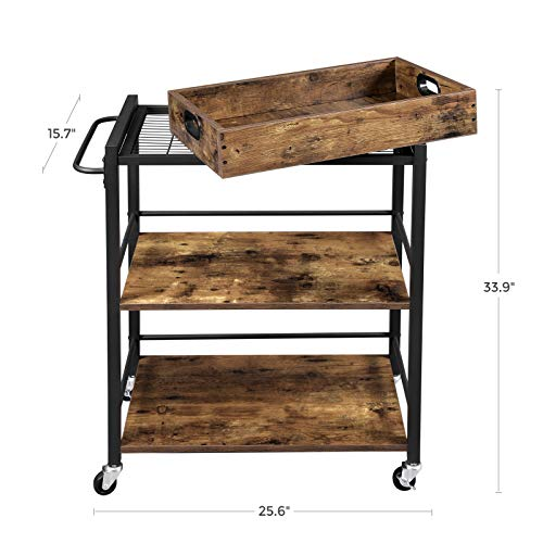Vasagle Alinru Kitchen Serving Cart With Removable Tray 3 Tier Kitchen Utility Cart On Wheels With Storage Universal Farmhouse Goals In 2020 Kitchen Utility Cart Wooden Cart Storage
